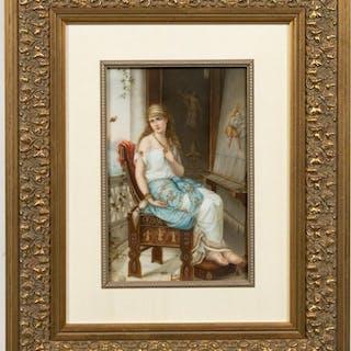 """Framed KPM Plaque, After H. Coomans , """"Captive"""""""
