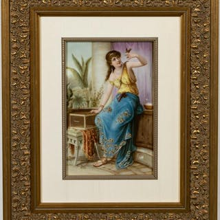 "Framed KPM Plaque, ""Darling,"" Woman with Bird"