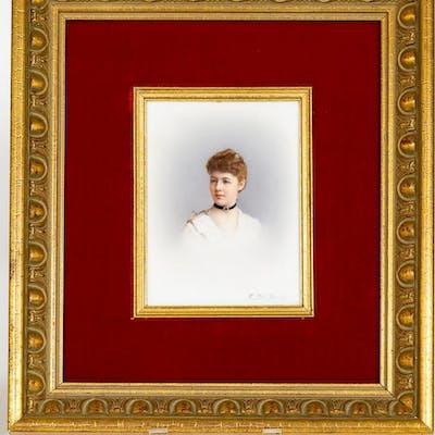 Berlin KPM, Fr. Till, Porcelain Portrait Plaque