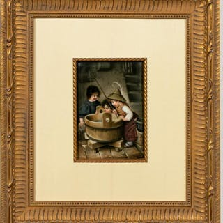 German Painted Porcelain Plaque, Barrel Fishing