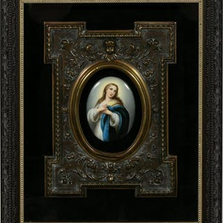 Limoges Style Painted Porcelain Plaque, Madonna