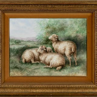 J.A. Gordon Signed Limoges Porcelain Sheep Plaque