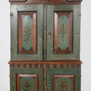 L. 18th C. Swedish Folk Polychrome Painted Cabinet