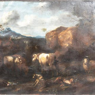 17th C. Continental School Pastoral Oil on Canvas