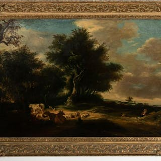 Pastoral Landscape of Cows, Manner of Corot