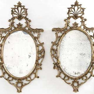 Pair, Oval Italian Giltwood Rococo Style Mirrors