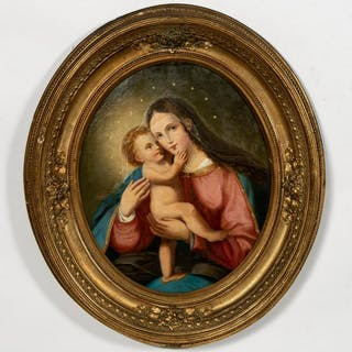Style of Sandro Botticelli, Madonna and Child Oil