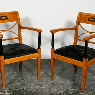 Pair, 19th Century Biedermeier Armchairs