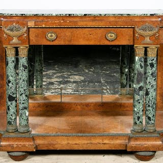 Empire Style Green Marble Top Console Table