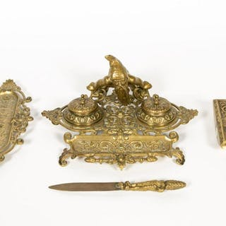 Four Piece Gnome Motif Bronze Desk Set, 19th C.