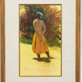 Albert Handell Portrait of a Woman in Yellow