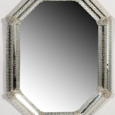 Etched Italian Venetian Glass Octagonal Mirror