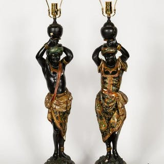 Pair, Polychrome Blackamoor Figural Table Lamps