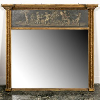 L. 19th C. Classical Style Giltwood Trumeau Mirror
