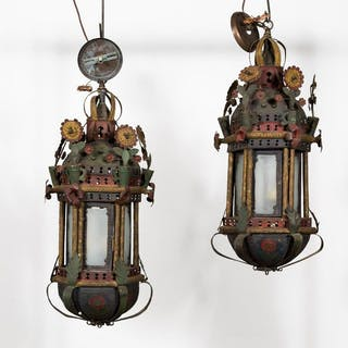 Pair, L. 18th C. Polychrome Processional Lanterns