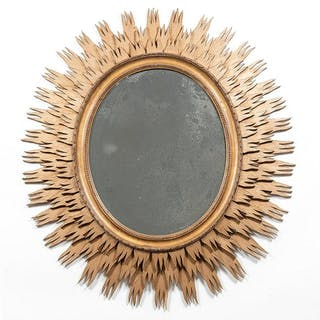 "Oval Giltwood Sunburst Mirror, 42"" Tall"