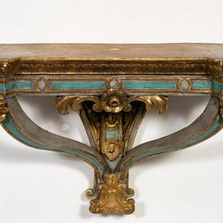 Italian Baroque Style Part Gilt Wall Console Table