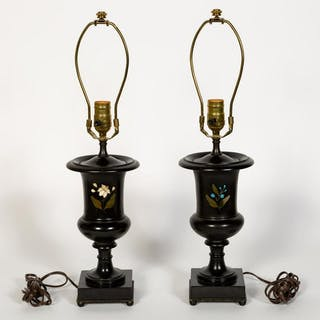 Pair of Black Pietra Dura Urns Mounted as Lamps