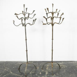 Pair, Fifteen Light Wrought Iron Floor Candelabras