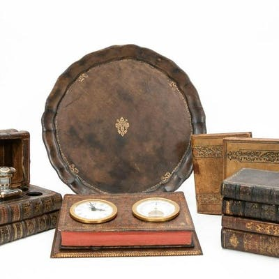 Six Leather Bound Faux Book Desk Accessories
