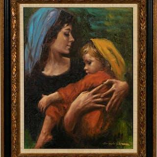 "Sandu Lieberman ""Mother & Child"" Oil on Canvas"