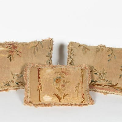 Three Aubusson Tapestry Fragment Pillows
