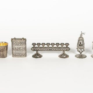 7 PC.  Sterling Silver Judaica Ceremonial Grouping
