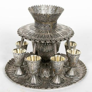 9 PC. Sterling Silver Kiddush Wine Fountain Set