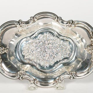 Sterling Silver Oval Repousse Candy Dish