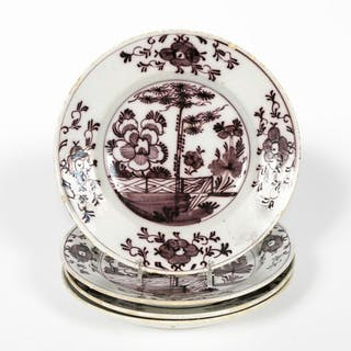 Set, 4 18th C. Delft Manganese Chinoiserie Plates
