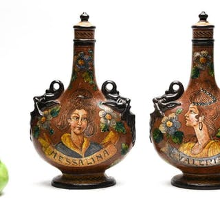 Pair of Decorated Pottery Pilgrim Bottles