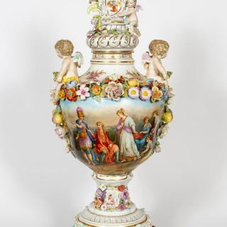 Large Carl Thieme Floral and Cherub Porcelain Urn
