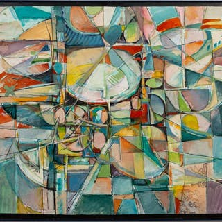 American School, Colorful Futuristic Abstract Oil