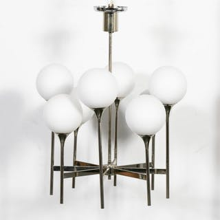 Italian Modern Ball Form Chrome Chandelier