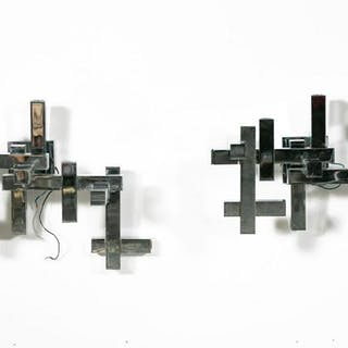 Two Sciolari Chrome Modern Wall Sconces