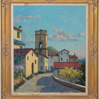 "Henry Barnes, 20th C. ""Tuscan Street View"" Oil"