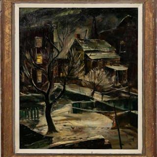 """Ferdinand Warren, Brooklyn Backyard"""" Oil, 1944"""