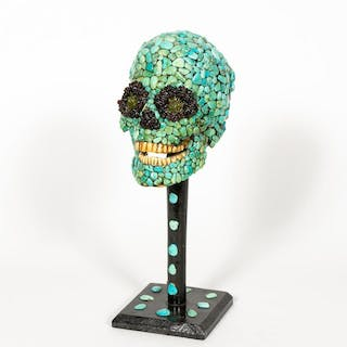 20th C. Faux Turquoise Encrusted Skull on Stand