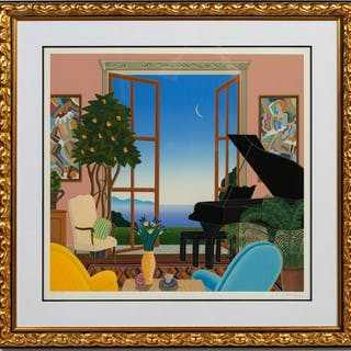 "Thomas McKnight, ""Coconut Grove"" Serigraph 1986"