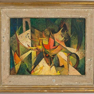 "Frank Kent ""Fiesta Del Torito"" Abstract Oil 1951"