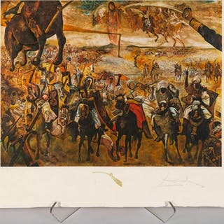 "After Dali, ""Battle of Tetuanz"" Figural Lithograph"