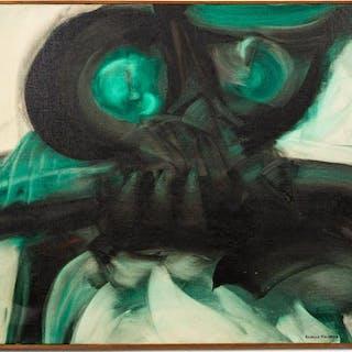 """Ricardo Machado, """"Buho"""" Green Abstracted Owl Oil"""