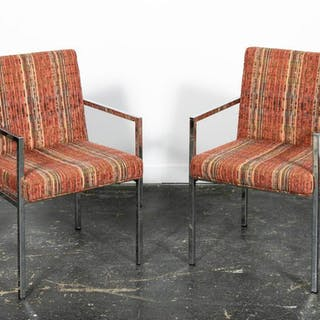Pair of Mid Century Modern Chrome Armchairs