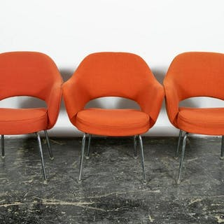 Three Knoll Orange Executive Upholstered Armchairs