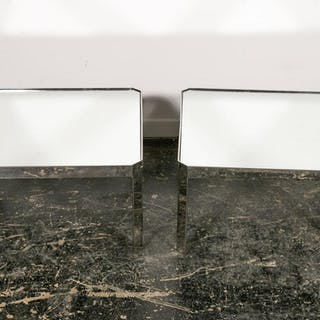 Pair of Mirrored Top and Chrome Cocktail Tables