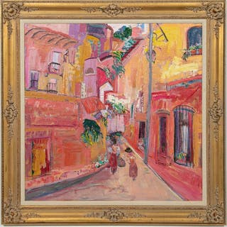 "Beatriz Candioti, Colorful ""Village Street Scene"""