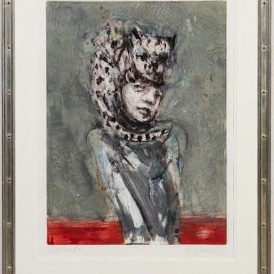 """Kathleen Morris Figural Monotype """"Cathead II"""""""
