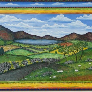 Mary Klein Folk Art Rural Sheep Fields, 1999