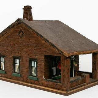 20th C. American Folk Art Model of a Log Cabin