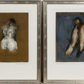 Kathleen Morris, Two Monotypes Bird and Figural